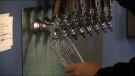 Beer is poured at Forked River Brewing Co. in London, Ont. on Saturday, Oct. 16, 2021. (Brent Lale / CTV News)