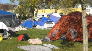 Approximately 30 people are living in tents in Camp Marjorie. (Mackenzie Read/CTV News)