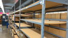 Empty shelves at Lee Valley Tools in Ottawa. (Jackie Perez/CTV News Ottawa)