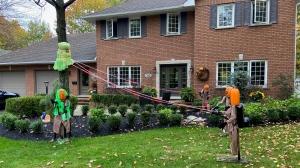 The Halloween Ghostbusters display set up by Regan Jones in Petawawa, Ont. (Dylan Dyson/CTV News Ottawa)