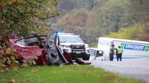 A head-on collision on Lougheed Highway in Maple Ridge sent two people to hospital Saturday afternoon, including one who was transported by helicopter. (CTV)
