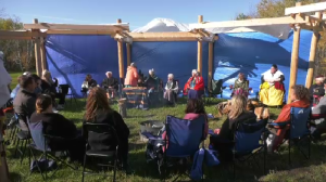 Ceremony to mark the transformation of a former Manitoba youth camp into an Indigenous healing village in Belair, Man., October 16 (Michael Arsenault, CTV News)