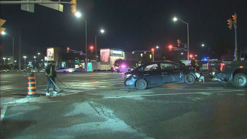 Five people were injured when two vehicles collided in Brampton.