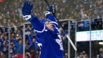 Toronto Maple Leafs forward Michael Bunting (58) celebrates his first goal of the season against the Ottawa Senators during third period NHL action in Toronto on Saturday, October 16, 2021. THE CANADIAN PRESS/Evan Buhler