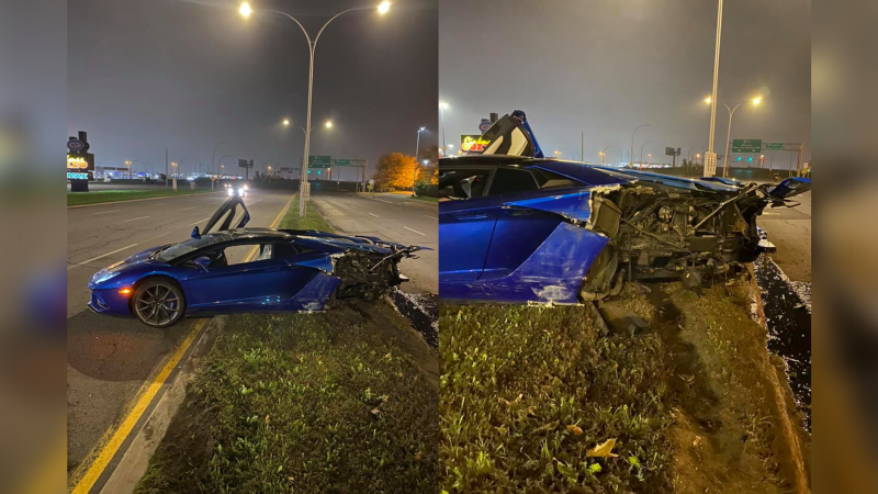 What remained of luxury car was found on a Montreal boulevard early Saturday morning after what appears to be a serious crash on Sources Blvd. near Brunswick Blvd. (Photos courtesy of Nick Easterbrook)