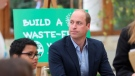 In this Oct. 13, 2021 file photo, Britain's Prince William sits alongside children from The Heathlands School during a visit to the Royal Botanic Gardens to take part in a Generation Earthshot event, in south London. Celebrities will join Prince William in London on Sunday, Oct. 17, 2021 for the inaugural awards ceremony of his Earthshot Prize. (Ian Vogler / Pool Photo via AP, file)