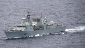 Royal Canadian Navy frigate HMCS Winnipeg is seen off the coast of Hawaii during a training exercise on Aug. 21, 2020. The HMCS Winnipeg was sailed down the Strait of Taiwan recently alongside the U.S. military warship USS Dewey, as China condemned the move as a provocation. (Rawad Madanat/U.S Third Fleet)
