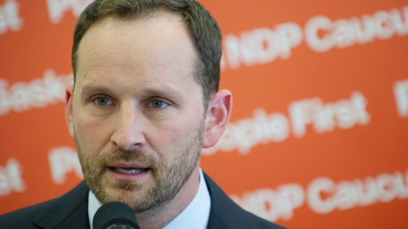 Saskatchewan NDP Leader Ryan Meili takes questions from reporters before the province's budget release and a mini-sitting at Saskatchewan's Legislative Building in Regina on Monday, June 15, 2020. THE CANADIAN PRESS/Mark Taylor