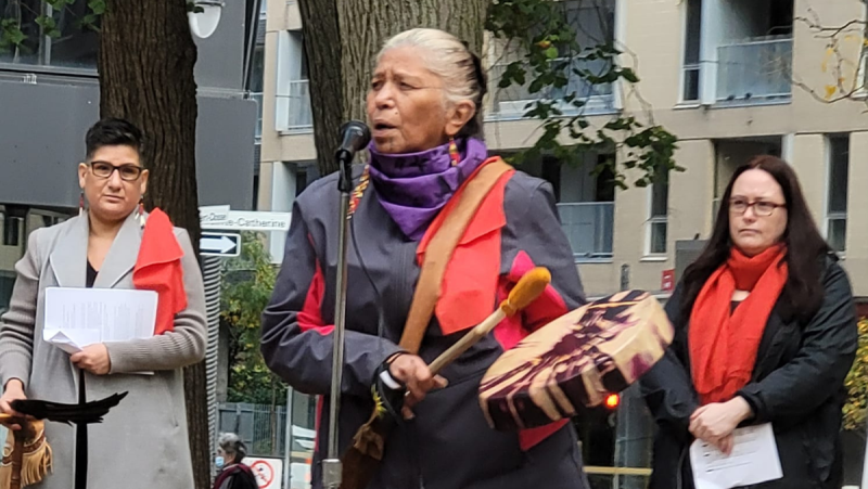 Indigenous rights were front and centre this year in the World Women's March in Montreal. SOURCE:CQMMF