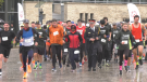 Hundreds turned out, both in-person and virtually, for the annual OPP Guardian's of the Flame Torch Run on Sun. Oct. 17, 2021 (Steve Mansbridge/CTV News Barrie)