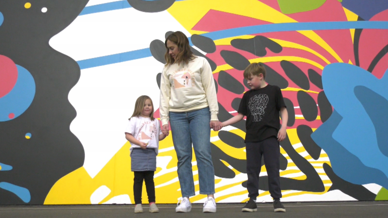Kathy Heath, a mother of three, started a new clothing line to celebrate Autism Awareness Month and raise funds for a local charity (CTV News Edmonton/Ryan Harding).