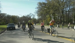 Cyclists advocating for active transportation