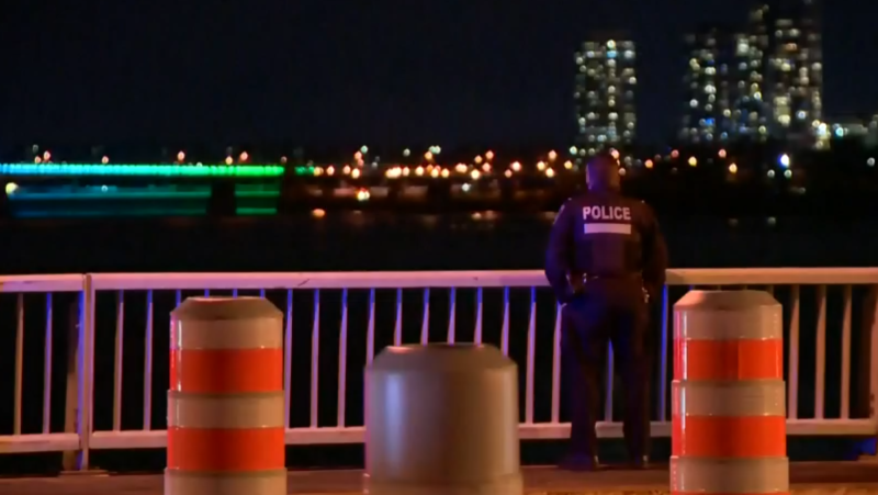 Montreal police are involved in a rescue mission for a firefighter missing in the St. Lawrence river on Sunday, Oct. 17, 2021. (Cosmo Santamaria, CTV News)