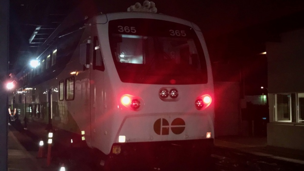 The first official trip of  GO Train from London to Toronto departed at 5:20 a.m. Monday, Oct. 18, 2021. (Sean Irvine / CTV London)