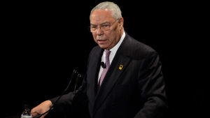 In this photo taken Nov. 9, 2011, Former Secretary of State Colin Powell speaks in New York. In a leaked 2015 email exchange, former Secretary of State Colin Powell discussed Israel's nuclear weapons with a friend, saying the country has 200 warheads. (AP Photo/Eric Reichbaum)