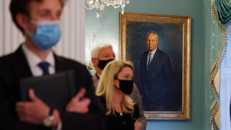 A portrait of former Secretary of State Colin Powell hangs at the State Department in Washington, on , Aug. 30, 2021. (Jonathan Ernst / Pool via AP)