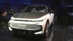 Foxtron Model C electric car during a press event held in Taipei, Taiwan, on Oct. 18, 2021. (Wu Taijing / AP)