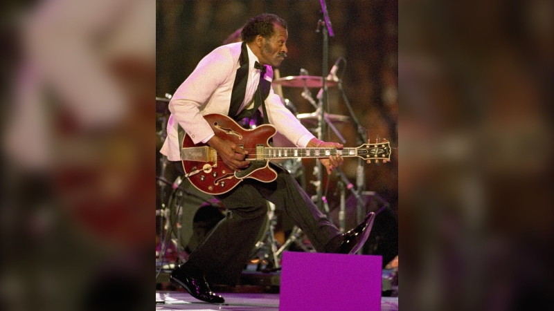 Chuck Berry on stage at the Presidential Gala in Landover, Md., on Jan. 19, 1993. (Amy Sancetta / AP)