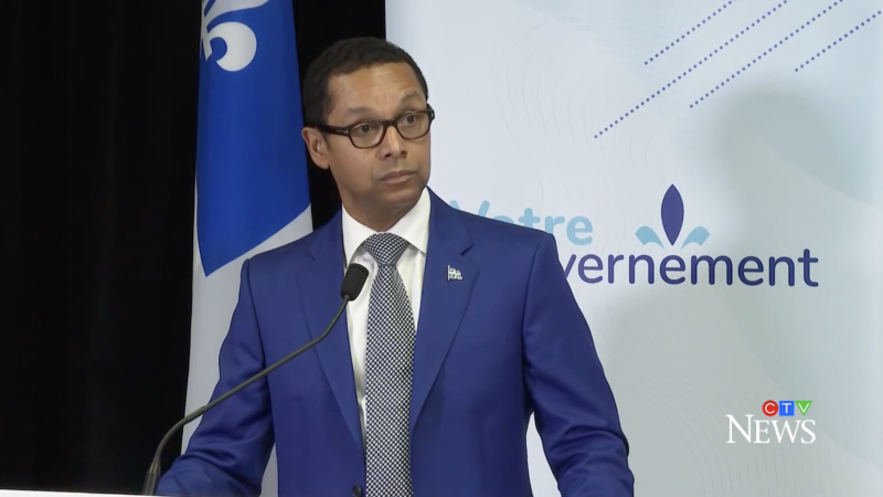 Junior Health Minister Lionel Carmant announces a $280-million investment to prevent and address homelessness in the province during a press conference on Monday, Oct. 18, 2021. (Source: CTV News)
