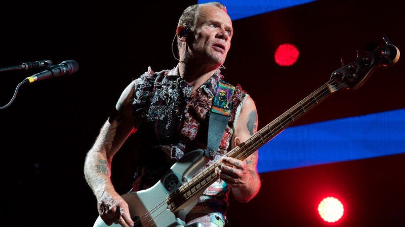 Flea of the Red Hot Chili Peppers performs at a concert in Abu Dhabi, United Arab Emirates, on Sept. 4, 2019. (Jon Gambrell / AP)