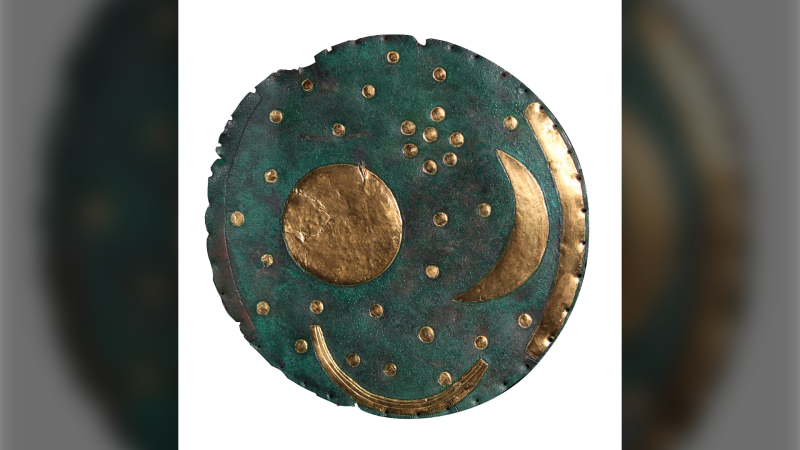 This image courtesy of the State Office for Heritage Management and Archaeology Saxony-Anhalt shows the Nebra Sky Disc. (Juraj Liptak/State Office for Heritage Management and Archaeology Saxony-Anhalt via AP)