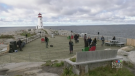 A large viewing platform was officially opened Monday near the postcard-perfect lighthouse at Nova Scotia's Peggy's Cove.