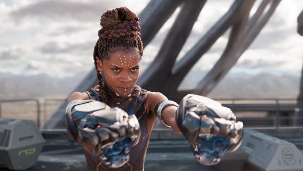 Letitia Wright in a scene from 'Black Panther.'  (Matt Kennedy / Disney / Marvel Studios via AP)