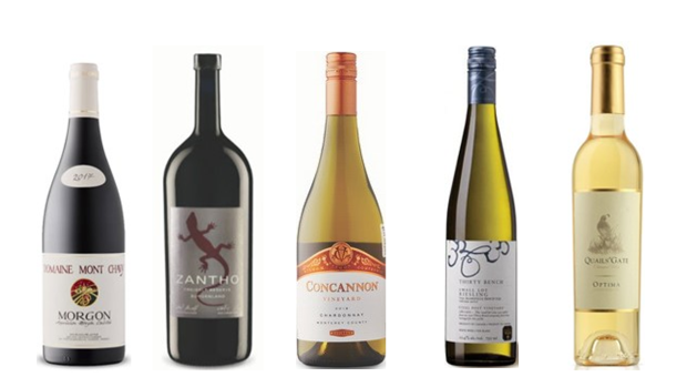 Georges Duboeuf Domaine Mont Chavy 2018, Zantho Reserve Zweigelt 2017, Concannon Vineyard Chardonnay 2018,  Thirty Bench Small Lot Wood Post Riesling 2018, Quails' Gate Estate Winery Totally Botrytis Affected Optima Cabernet Sauvignon 2010