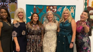 A photo posted on Manitoba Families Minister Rochelle Squires' Facebook page on Oct. 17, 2021, shows a group including Manitoba Health Minister Audrey Gordon (left), Minister Cathy Cox (second from left), and Squires (second from right) with no masks on during an event at the Winnipeg Art Gallery. The ministers have apologized for not wearing masks. (Source: Rochelle Squires/ Facebook)