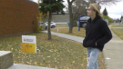 Fynnean Ansel Woodard heads into the voting station for the first time after turning 18 on election day, Oct. 18, 2021 (Matt Marshall/CTV News Edmonton).