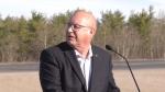 Saskatchewan Minister of Highways Fred Bradshaw speaks at a media event for Highway 3 safety improvements on Oct. 18, 2021. (Jayda Taylor/CTV Prince Albert)