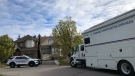 Durham Regional Police vehicles are seen outside of a Whitby home where a mother and daughter went missing last week. (CTV News Toronto/Beth Macdonell)