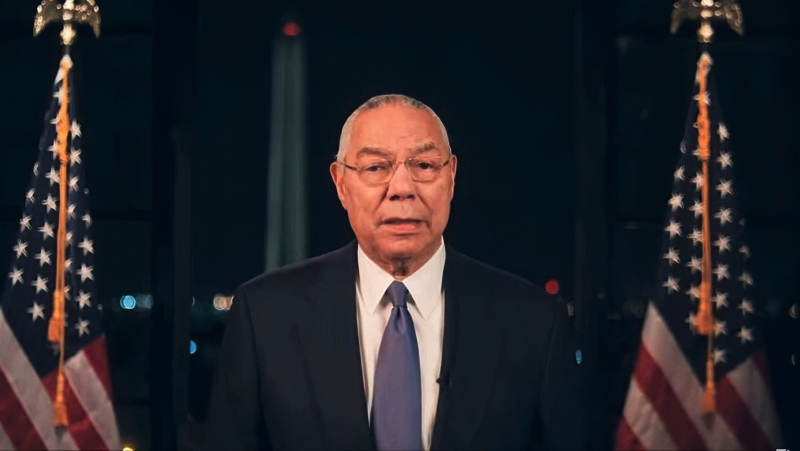 In this image from video made available before the start of the convention, former Secretary of State Colin Powell speaks during the second night of the Democratic National Convention on Tuesday, Aug. 18, 2020. (Democratic National Convention via AP)