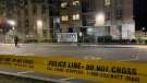 Police tape is pictured at the scene of a shooting on Brahms Avenue in North York Monday October 18, 2021. (MIke Nguyen /CP24)