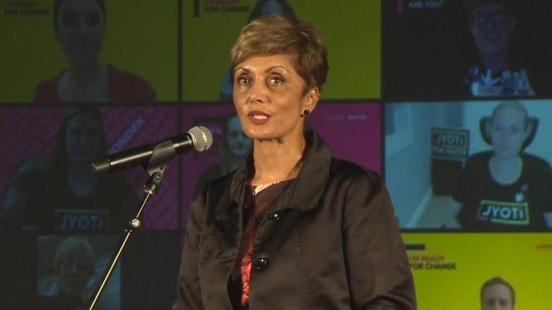Jyoti Gondek delivers speech to supporters