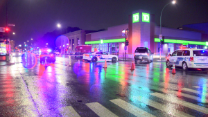 An armoured car was held up and robbed in Montreal late Oct. 18, 2021. (Cosmo Santamaria/CTV News)