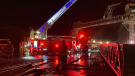 Quebec City firefighters were in the Port of Quebec Monday night after a fire broke out on a conveyor. SPCIQ/Twitter