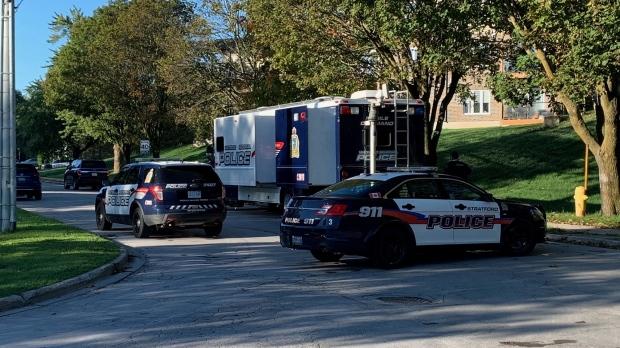 Both Stratford and Waterloo regional police on scene in St. Marys. (Jeff Pickel/CTV Kitchener) (Oct. 19, 2021)