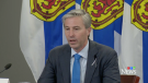 Nova Scotia Premier Tim Houston provides an update on COVID-19 during a news conference in Halifax on Oct. 19, 2021.