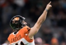 B.C. Lions' Sergio Castillo celebrates after kicking a field goal against the Saskatchewan Roughriders during the first half of a CFL football game in Vancouver, on Friday October 18, 2019. THE CANADIAN PRESS/Darryl Dyck