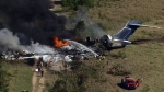 LIVE: Aerial view of fiery plane crash in Texas