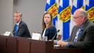Nova Scotia Premier Tim Houston, Alyson Lamb, Executive Director, Western Zone, Nova Scotia Health, and Dr. Robert Strang, Chief Medical Officer of Health give a live update on the province's COVID-19 situation on Tues, Oct. 19, 2021. (Photo via Communications Nova Scotia)