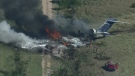 Aerial view of fiery plane crash in Texas