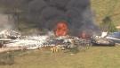 A plane crashed near the Houston Executive Airport on Tuesday morning. (Houston, Texas, US via CNN)