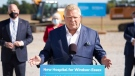 Ontario Premier Doug Ford makes a funding announcement for a new hospital in Windsor, Ontario on Monday, October 18, 2021. THE CANADIAN PRESS/ Geoff Robins