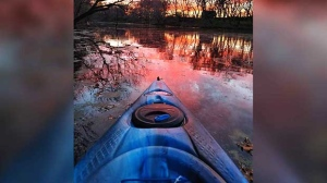 Kayaking on the La Salle River on a beautiful October evening. Photo by Leslie Malcolm.