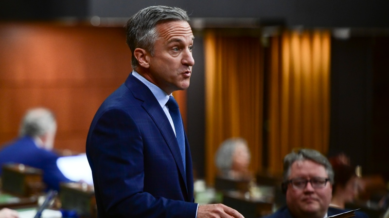 Conservative member of Parliament James Cumming rises during question period in the House of Commons on Parliament Hill in Ottawa on Monday, June 21, 2021. THE CANADIAN PRESS/Sean Kilpatrick