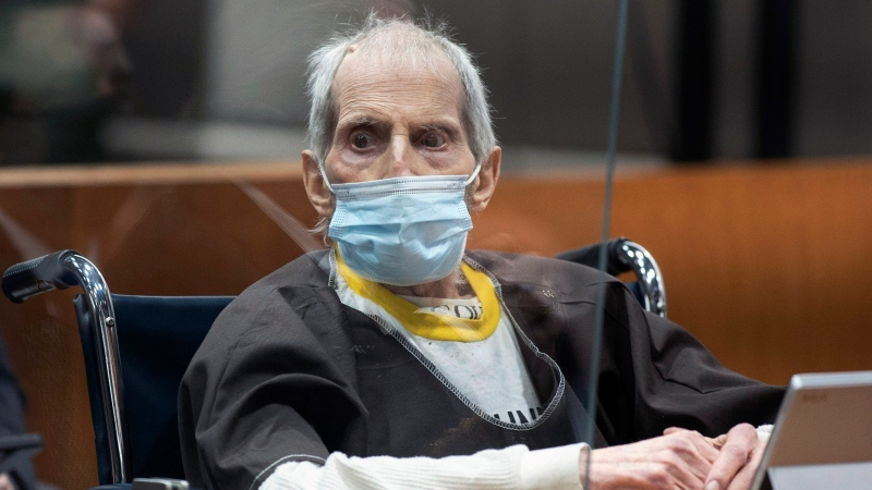 New York real estate scion Robert Durst, 78, sits in the courtroom as he is sentenced to life in prison without chance of parole, Thursday, Oct. 14, 2021 at the Airport Courthouse in Los Angeles. (Myung J. Chung/Los Angeles Times via AP, Pool)