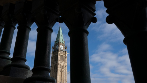 The Peace tower is seen on Tuesday, Oct. 5, 2021 as politicians begin returning to work in Ottawa. The Conservative and Bloc parties both held their first party caucus meetings following the federal election. THE CANADIAN PRESS/Adrian Wyld