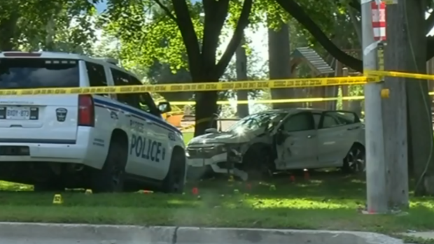 Police tape surrounds a crash scene at St. Vincent Park in Barrie, Ont., on Sept. 17, 2019. (CTV News Barrie)
